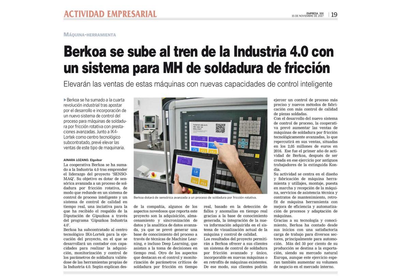 Artículo publicado por Empresa XXI sobre Berkoa